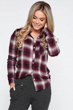 Lila casual hosszú ujjú bő szabású női ing nem elasztikus pamut kockás