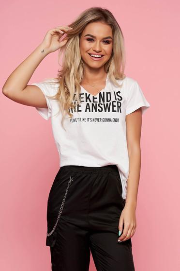 Fehér Top Secret casual feliratos póló bő szabás nem elasztikus pamut nyomtatott mintával