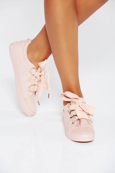 Pink casual sport cipő lapos talpú műbőr