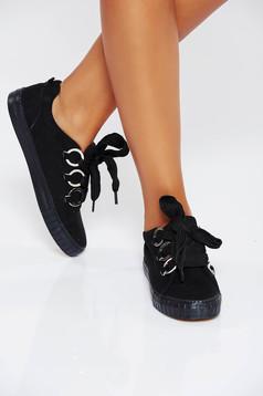 Fekete casual sport cipő lapos talpú műbőr