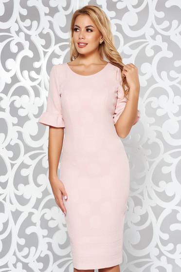 Rózsaszínű elegáns midi ceruza ruha enyhén rugalmas anyag rövid ujjú