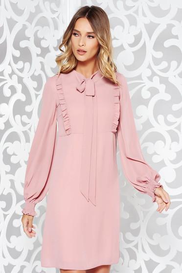 Rózsaszínű LaDonna hétköznapi a-vonalú ruha fátyol anyag fodros belső béléssel
