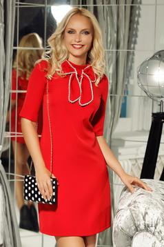Piros Fofy elegáns a-vonalú ruha rövid ujjú enyhén rugalmas szövet masni díszítéssel