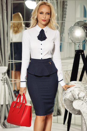 Fehér Fofy irodai női ing pamutból készült szűk szabás tartozékkal