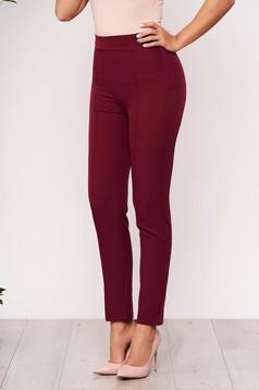 Burgundy StarShinerS irodai kónikus zsebes magas derekú nadrág enyhén rugalmas anyagból