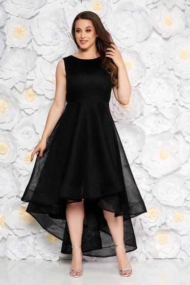 aa1944005a Fekete ujj nélküli alkalmi aszimetrikus harang ruha háló típus béléssel