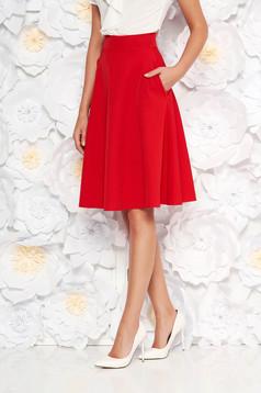 Piros StarShinerS elegáns harang magas derekú szoknya enyhén elasztikus szövet irodai