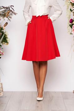 Piros StarShinerS magas derekú midi elegáns irodai harang szoknya zsebekkel