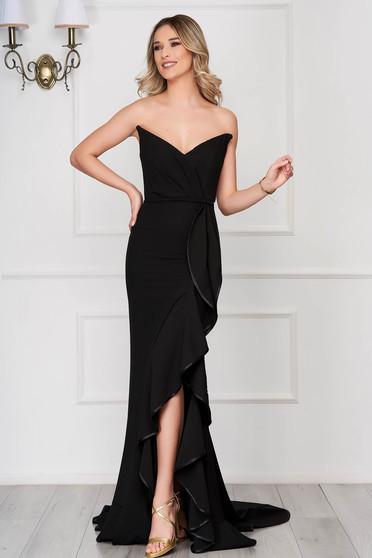 Fekete Ana Radu szirén tipusú ruha fodros váll nélküli