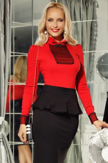 Piros Fofy irodai női ing enyhén elasztikus pamut szűk szabás