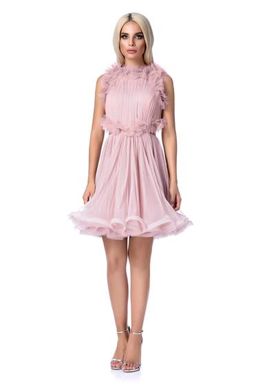 Rózsaszínű Ana Radu tüll harang ruha belső béléssel kivágott hátrész
