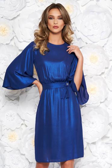 Kék StarShinerS alkalmi harang ruha vékony anyag belső béléssel derékban rugalmas
