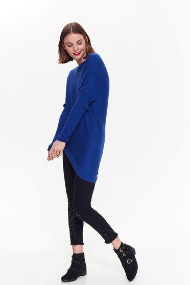 Kék Top Secret casual aszimetrikus bő szabású pulóver kötött anyag