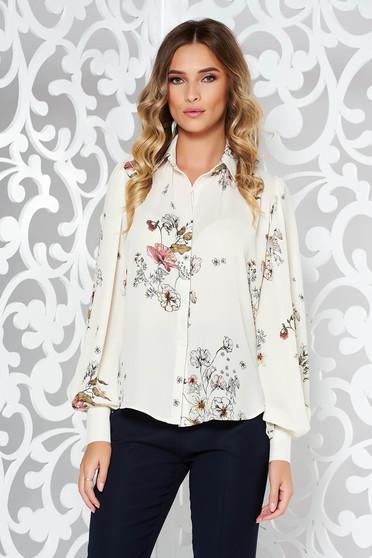 Fehér PrettyGirl irodai bő szabású női ing nem rugalmas anyag