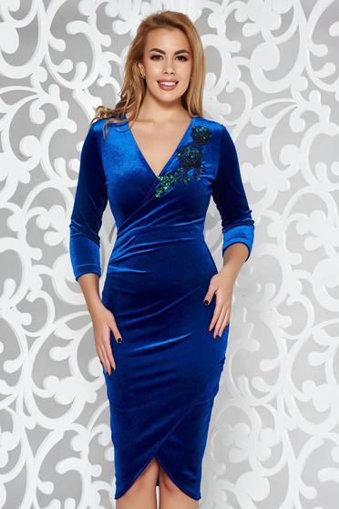 606a802e0a Kék StarShinerS alkalmi bársony ruha szűk szabás flitteres díszítés  átfedéses fazon