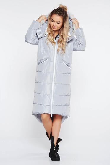 Világosszürke Top Secret casual vízhatlan hosszú dzseki a kapucni nem távolítható el