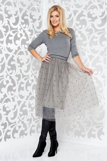 Szürke StarShinerS hétköznapi harang ruha kötött anyag tűllel derékban rugalmas