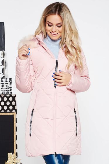 cbba20e063 Világos rózsaszín SunShine casual vízhatlan dzseki bundabélessel ellátva  egyenes szabás szőrmés kapucni zsebes