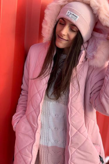 Világos rózsaszín SunShine casual vízhatlan dzseki bundabélessel ellátva egyenes szabás szőrmés kapucni zsebes