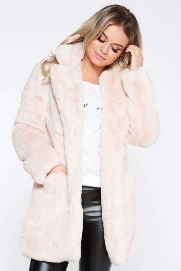 Szőrme világos rózsaszín műszőrme belső béléssel elegáns zsebes