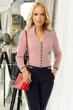 Piros Fofy irodai női ing enyhén elasztikus pamut szűk szabás v-dekoltázzsal