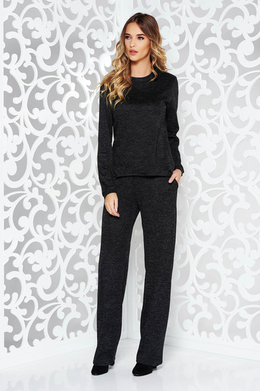 Fekete StarShinerS casual női kosztüm kötött anyag bő szabás zsebes