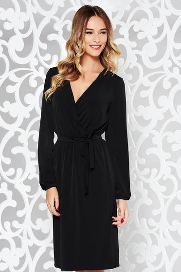 Fekete StarShinerS elegáns ruha derékban rugalmas finom tapintású anyag övvel ellátva