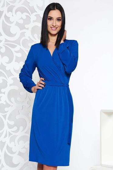 Kék StarShinerS elegáns ruha derékban rugalmas finom tapintású anyagból övvel ellátva