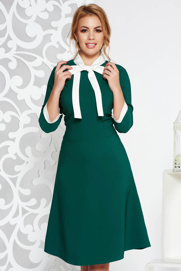 Zöld irodai midi ruha vékony, rugalmas szövet