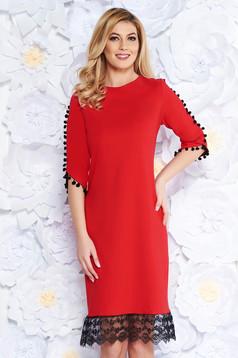 86a98b0c33 Piros elegáns bő szabású ruha enyhén rugalmas anyag csillogó ...