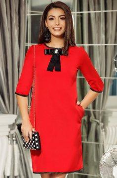 Piros Fofy elegáns a-vonalú ruha masni díszítéssel