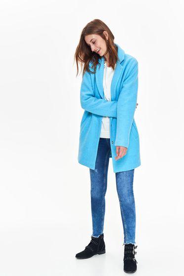 Kék Top Secret casual egyenes hosszú ujjú nagykabát vastag anyag