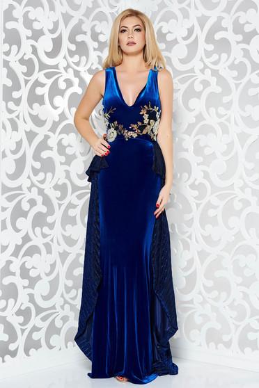 39245682ab Kék StarShinerS alkalmi szirén tipusú bársony ruha hímzett betétekkel