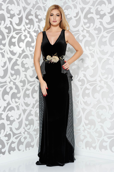 Fekete StarShinerS alkalmi szirén tipusú bársony ruha hímzett betétekkel