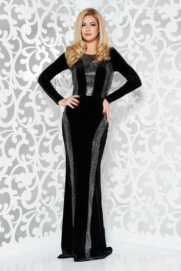 Fekete StarShinerS alkalmi szirén tipusú ruha enyhén elasztikus szövet flitteres díszítéssel