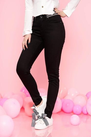 Fekete Top Secret casual nadrág enyhén elasztikus pamut magas derekú szűk szabás derékban rugalmas
