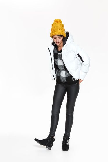 Fehér Top Secret casual vízhatlan dzseki belső béléssel a kapucni nem távolítható el