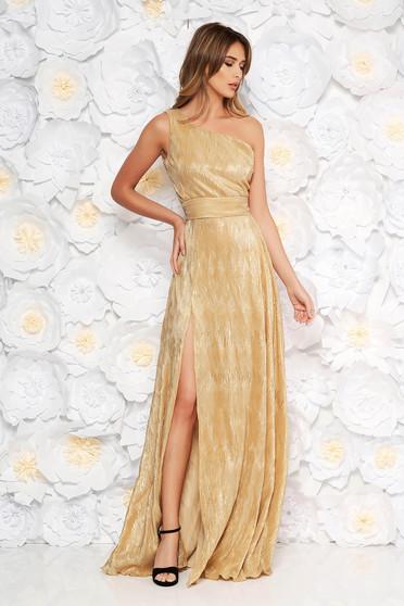Arany alkalmi rakott ruha enyhén rugalmas anyag fémes jelleg belső béléssel egy vállas szabás