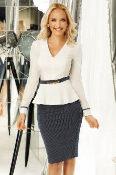 Fehér Fofy irodai női ing karcsusított szabás enyhén elasztikus pamut v-dekoltázzsal