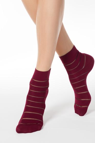 Burgundy lekerekitett sarku zokni rugalmas anyagból
