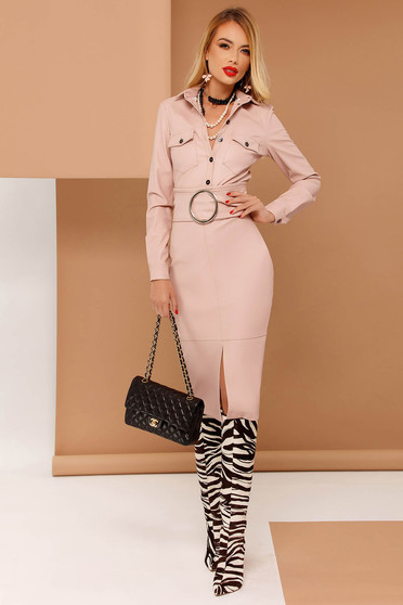 Rózsaszínű PrettyGirl műbőr ceruza szoknya belső béléssel magas derekú övvel ellátva
