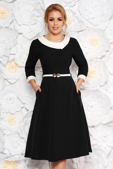 Fekete elegáns harang ruha enyhén rugalmas szövet öv típusú kiegészítővel