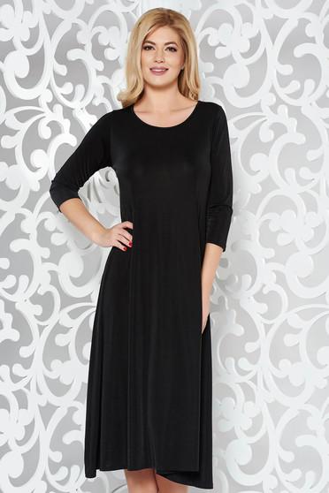 Fekete casual bő szabású ruha finom tapintású anyag 3/4-es ujjú