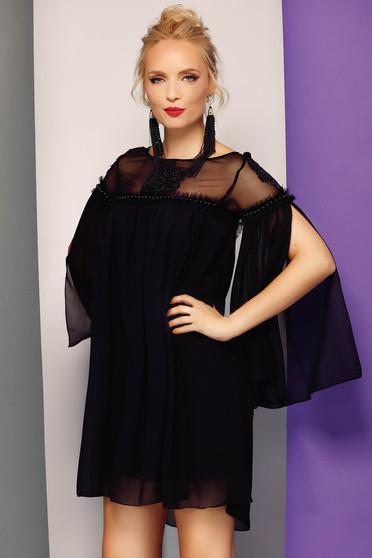 Fekete Fofy alkalmi bő szabású ruha fátyol anyag belső béléssel