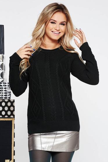 Fekete casual bő szabású kötött pulóver nem elasztikus pamut