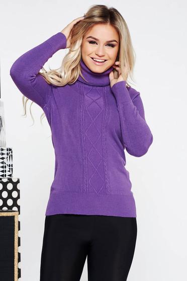 Lila casual szűk szabású pulóver kötött anyag