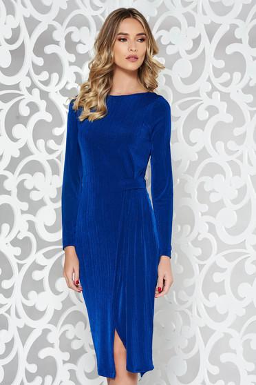 Kék StarShinerS alkalmi ruha rugalmas anyag szűk szabás hosszú ujjak