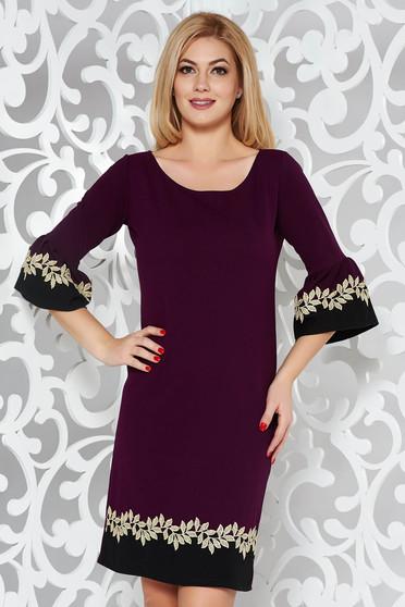Lila elegáns egyenes ruha harang ujjakkal csipke díszítéssel rugalmas anyag