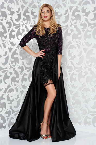 999ca76f72 StarShinerS fekete alkalmi ruha szűk szabás flitteres díszítéssel 3/4-es  ujjakkal