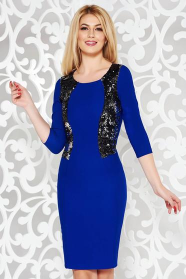 906e545302 Kék alkalmi ceruza ruha enyhén elasztikus pamut flitteres díszítés